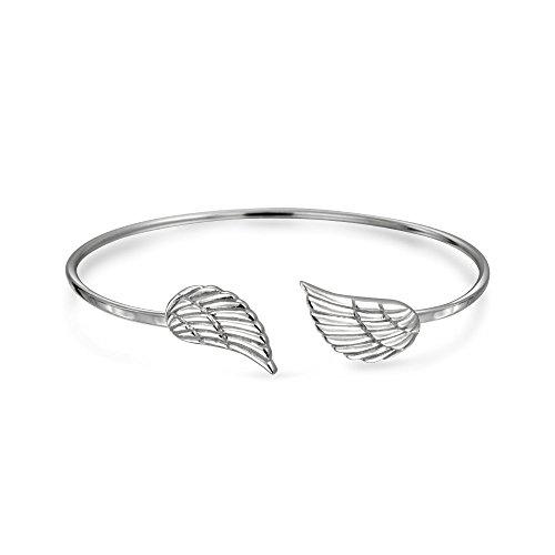 Religiöse Minimalistische Dünne Schutzengel Flügel Feder Armreif Armband Für Frauen Für Teen 925 Sterling Silber