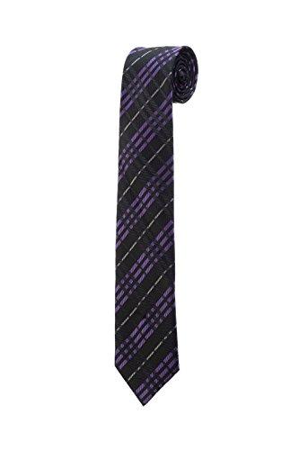 Cravate fine slim à rayures violet noir carreaux mariage DESIGN RTS