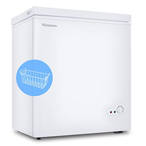 Nictemaw Chest Freezer, 5.3 Cu.Ft Large Capacity with Removable Basket&Adjustable Thermostat(-18.4 °F to 39.2 °F), Energy Saving & Low Noise, Free Standing Freezer for Kitchen, Garage, Basement(White)
