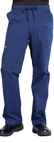 Cherokee Workwear Professionals Men's Tapered Leg Drawstring Cargo Scrub Pant, L, Navy