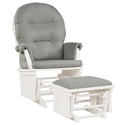 COSTWAY Schaukelstuhl mit Hocker und abnehmbare Kissen, Relaxstuhl gepolstert, Schwingsessel Schaukelsessel, Schwingstuhl für Wohnzimmer oder Schlafzimmer (Grau)