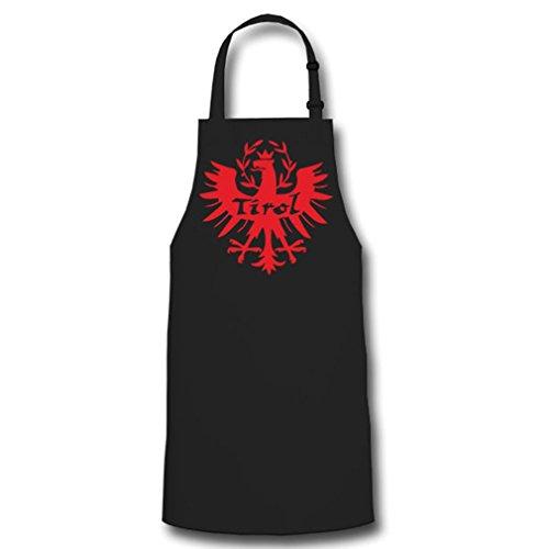 Tablier de barbecue motif aigle du Tyrol - Avec armoiries du Sud - #9500 - Noir - Taille Unique