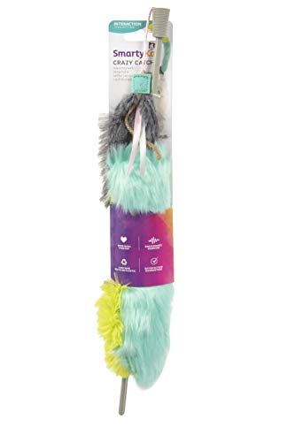 SmartyKat, Crazy Catch, Crinkle and Catnip Wand Cat Toy, Motion Toy, with Faux Fur and Long Detachable Tail