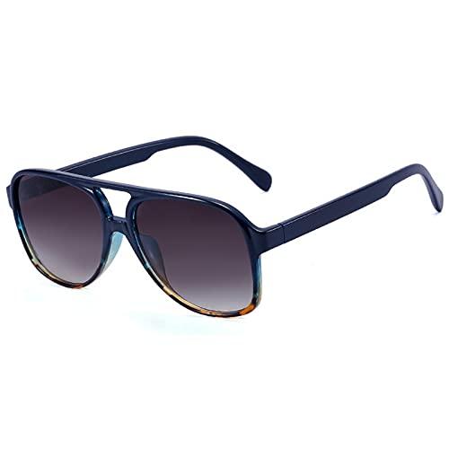 Gafas de sol Retro Mujer Hombre Clásico Vintage Gran Marco Cuadrado Gafas de sol UV Protección Marco Leopardo Degradado Azul