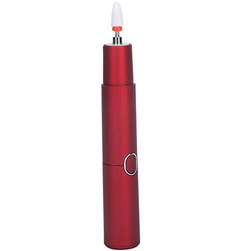 Kit de Taladro de uñas, Suministros de decoración de uñas pequeños y Ligeros, bolígrafo pulidor de uñas con una tecla de Inicio, Taladro de uñas con iluminación Auxiliar LED USB,(Red)