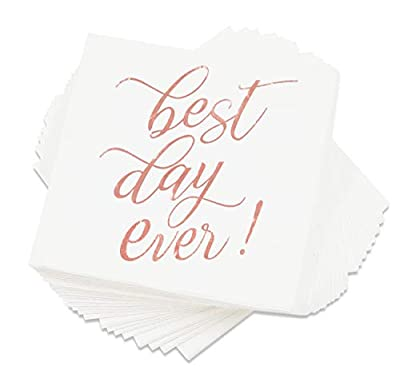 "Blue Panda""Best Day Ever"" Cocktail Napkins (50 Pack) 5 x 5 Inches, Rose Gold"