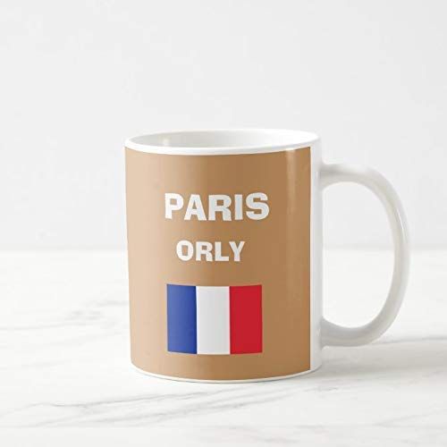 N\A Tazas de café Blanco de 11 oz, Taza de Aeropuerto Paris Orly CDG, Taza de Chocolate de cerámica como Regalo para cumpleaños, Navidad y Acción de Gracias