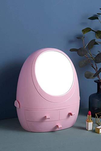 Cosmetische opbergdoos, multifunctionele spiegel opbergdoos met licht, for make-up en huidverzorging product rek kaptafel, roze, zonder licht LOLDF1