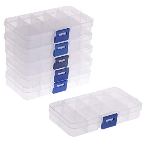 non-brand Sharplace Boîte de Rangement Plastique Boîte de Pêche pour Attirail Hameçon Leurres - Clair, 6X 10 Grille