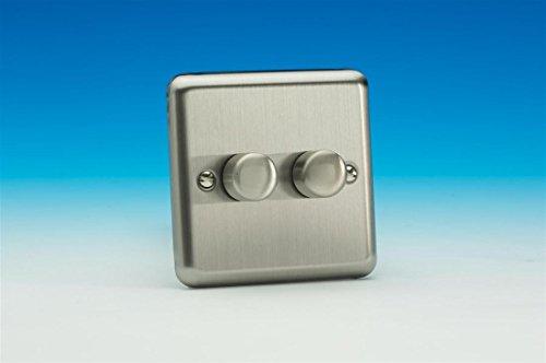Varilight V-Pro 2 bandas 2 formas presión/Apagado Giratorio LED Atenuador 2 x 0-100W (1-10 LEDs) Valor Cromo Mate - JSP252-P