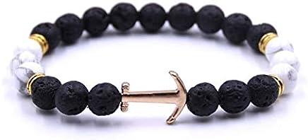 Lava Beads Anchor Bracelet Mens Anchor Charm Nautical Pirate Bracelet Gift For Him