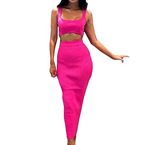 Damen Ärmelloses Top und Rock Set, Zweiteiler Outfit Sommer Sexy Frauen Kurzes Oberteil Rock Lang Skirt Bodycon Party Streetwear Damen Kleidung Sets Sommerkleider Set Bekleidungsets