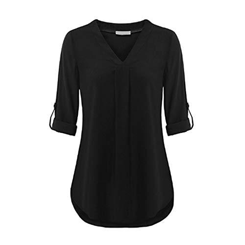 Damen Shirt Damen Herbst Tops Elegant V-Ausschnitt Einfachheit Einfarbig Lange Ärmel Schlank Tops Mode Passen Sexy Schönen Hemd 2020 Herbst und Winter S