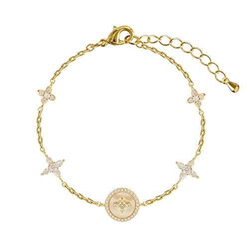 SONGK Pulsera de Encanto de Piedra de Concha Natural de circonita cúbica de Moda de Lujo para Mujer Exquisita Pulsera de Cadena de Oro Regalo de joyería para niña