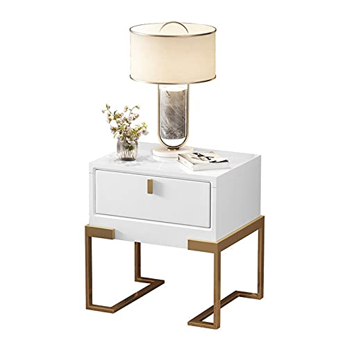 DO.CKEB Nightstands for Bedroom, Wood Nightstand with Drawers, Bedside Table, Tall Night Stand with 1-Drawer Rustic Farmhouse Accent End Table with Water-Resistant Surface, 50x40x50cm,White