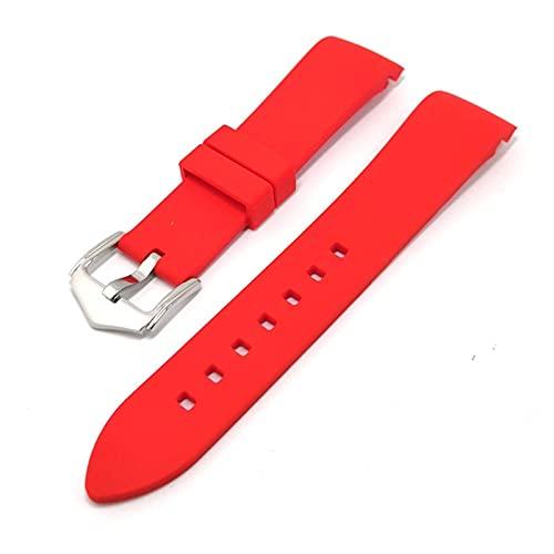 FETTR Correa de silicona para reloj de 20 mm, 22 mm, 24 mm, correa de silicona suave, codo de arco de goma para hombres y mujeres, accesorios de pulsera (color: rojo, tamaño: 24 mm)