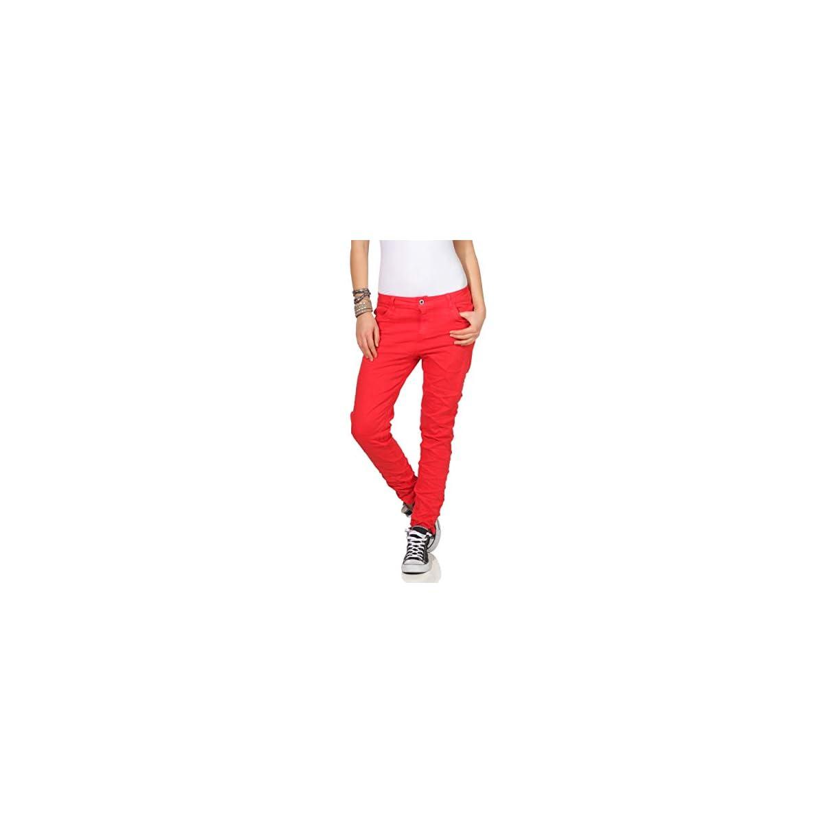 KAROSTAR Chino Damen Jeans Baggy Hose Rot
