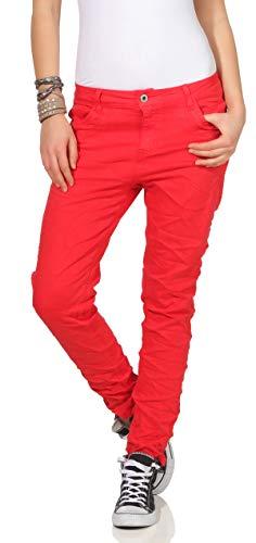 KAROSTAR Chino Damen Jeans Baggy Hose Boyfriend Hüfthose 19 (38, Rot)