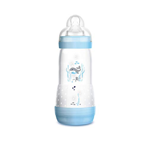 MAM Easy Start Anti-Colic - Biberón anticólicos autoesterilizable con base de ventilación y tetina MAM nº 3, 4+ meses, 320 ml, Azul