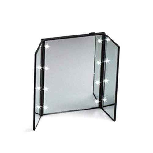 Miroir cosmétique Trois miroirs cosmétiques pliables avec 1 miroir en forme de coeur en forme de DEL