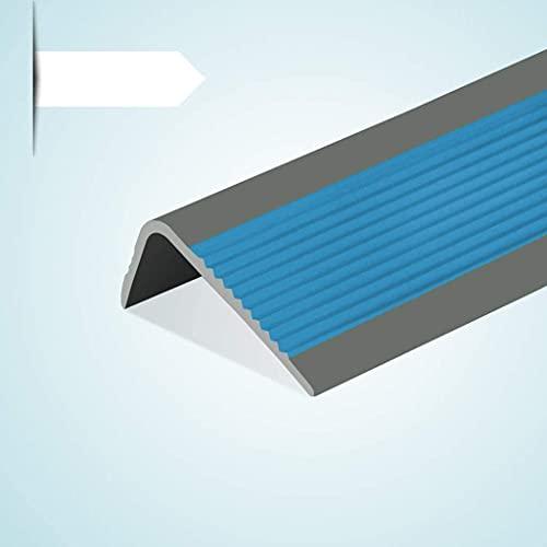 Tiras antideslizantes para escaleras de 99 cm, para escaleras, borde de jardín de infancia, en forma de L, autoadhesivas, color azul, tamaño: 5 unidades