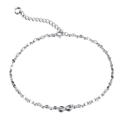 Fußkettchen mit Schleife für Damen, mit Herz-Talisman, 925Sterling-Silber, 28cm F1515SF