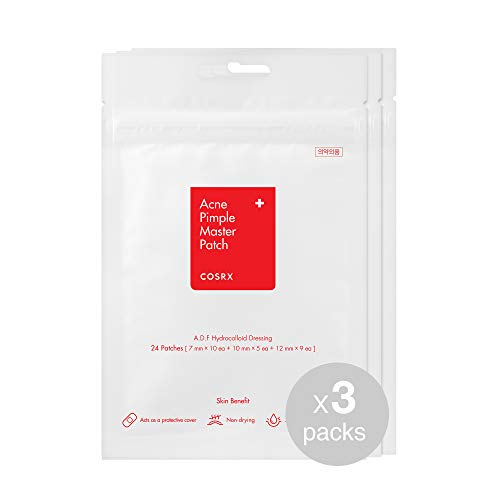 COSRX Acne Pimple Master Patch 72 Counts (24 patches 3 Packs) | A.D.F. Hydrocolloid Dressing | Quick & Easy Treatment