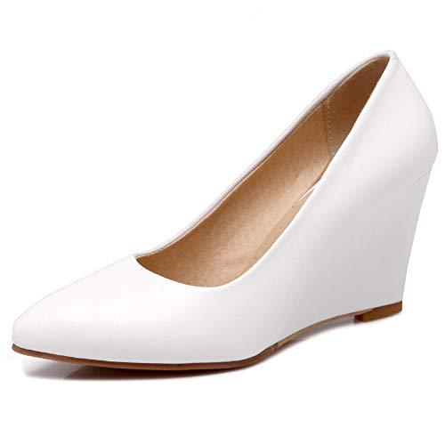 Dieenia Mujer Elegante Tacón De Cuña Zapatos Sin Cordones Tacón Alto Zapatos Puntiagudo Vestido Zapatos Blanco 31 EU