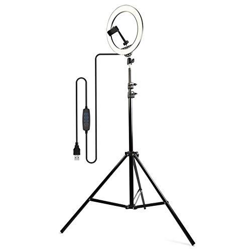 JS One Anillo de Luz LED Regulable con Flash Selfie de 10'con Trípode de 210cm Y Bolsa de Transporte