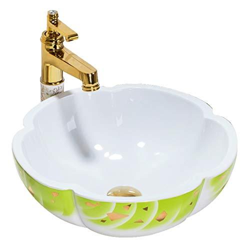 LYM badkamer tegenober wastafel, garderobe badkamer wastafel keramiek artistieke wastafel (zonder kraan) -42x15cm