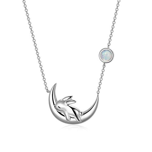 PEIMKO Sterling Silver Cute Bunny on the Moon Necklace for Women, Moonstone Pendant Necklaces, June Birthday Gift for Women Girls