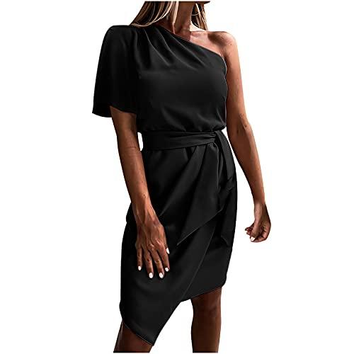 Liably Damen One-Shoulder Ärmelloses, schmales Krawattenkleid Lässig, einfarbig, kurzer Rock, sexy Abendkleid,...