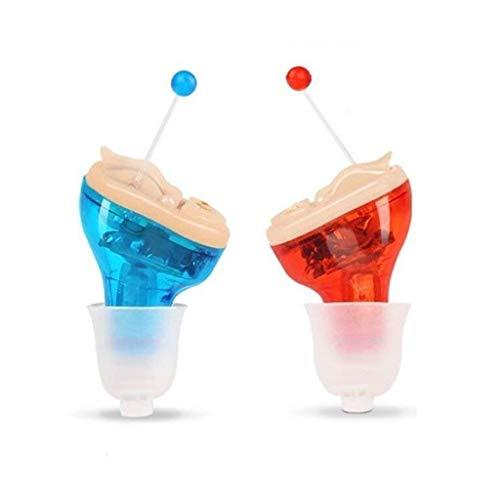 Audio versterker, mini onzichtbaar rood en blauw gehoorapparaat, horen versterker for linker- en rechteroor (Color : Sound amplifier, Size : LR)