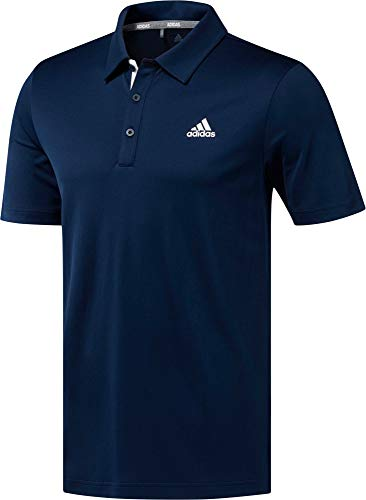adidas Men's Advantage Drive Novelty Solid Golf Polo Shirt (Collegiate Navy/Large)