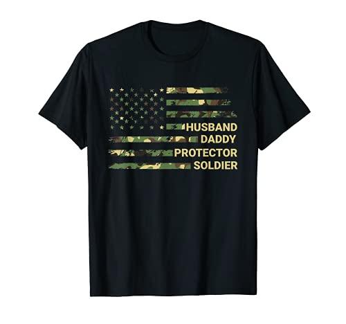 Hombre Marido Daddy Protector Soldado Bandera Americana Día del Padre Camiseta