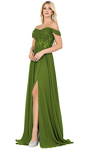 SOLODISH Women's A-Line Slit Prom Dress Long Off The Shoulder Lace Chiffon Formal Dress for Wedding Evening Gown (Olive Green,4)