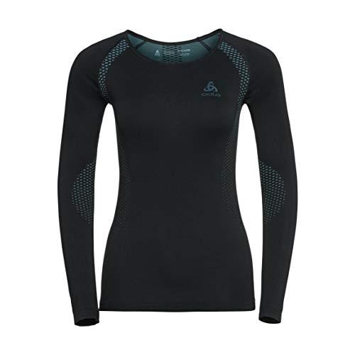 Odlo Essentials Seamless Light St LS CN T-Shirt pour Femme XL Nero/Blue Radiance