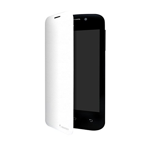 Flip Cover con funzione stand per Smartphone Komu Mini in silicone ed ecopelle Bianca ORIGINALE