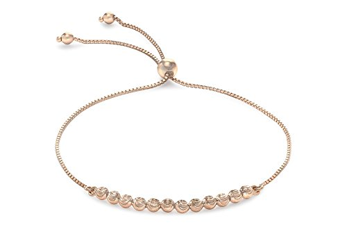Carissima Gold Women's 9 ct Rose Gold Ball and Chain Adjustable Bracelet of Maximum Length 20 cm/7.87 Inch