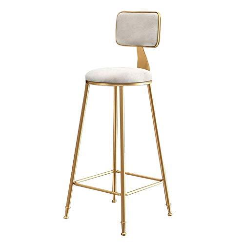 BDLYZ Yxsd - Taburete de bar con respaldo para cocina, pub, patas de metal dorado, sillas de comedor modernas de ocio, cojín de terciopelo blanco (tamaño: 75 cm)
