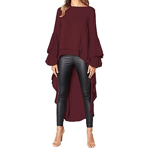 TEBAISE Damen Unregelmäßige Strick Übergröße Langarm Pullikleid Longshirt Top Minikleid Lose Asymmetrisch Jumper Sweatshirt Pullover Bluse Oberteile Tops