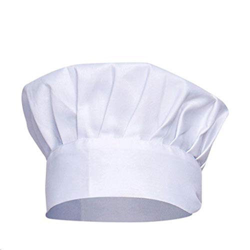 Ogquaton Premium Kochmütze Kinder Restaurant Hut westliche Küche Kochen Kochküche Küche Elastizität einstellbar Verkleidung Kappe Lange Kochmütze Unisex weiß bequem