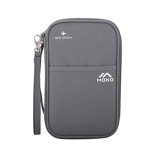MoKo Passport Wallet, RFID Passport Covers Travel Wallet Travel Case Cover Travel Passport Holder with Hand Strap, RFID Blocking Credit Card Wallet, Dual Layer Trip Document Organizer, Gray