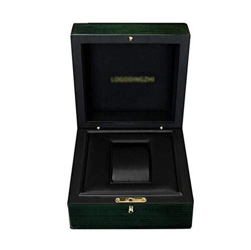 KAIBINY Caja de Reloj Caja de Reloj de Madera, Organizador Elegancia y Almacenamiento extraíble Almohadas con Cierre Hebilla de Metal Verde