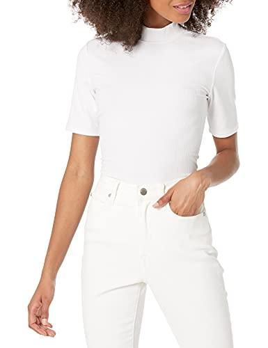 Marca Amazon - Joanna Camiseta de manga corta con cuello cerrado y tejido acanalado por The Drop
