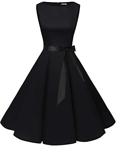 Bbonlinedress 50s Retro Schwingen Vintage Rockabilly Kleid Cocktail Faltenrock Black XL