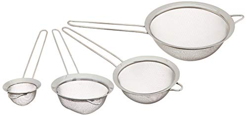 UrbanWare Set of 4 Fine Mesh Stainless Steel Strainers - Four Pack Tami Mesh Sifter Flour Sieve Cookware