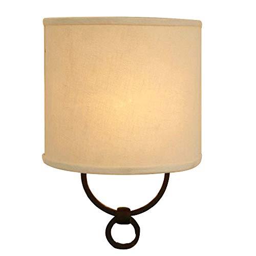 Schmiedeeisen LED wandlampen Vintage Metall Wallwasher Modern Kreativ Persönlichkeit Schwarz Halterung Halbrund flaxen Tuch Lampenschirm Innenbeleuchtung Gästezimmer Diele Schlafzimmer Terrasse