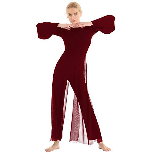 Freebily Tuta Danza Classica Donna Leotrads Vestiti Danze Standard Liscio Jumpsuit Elegante Cerimonia Body da Ballo Latino Americano Sala Valzer Rumba Samba Borgogna Small