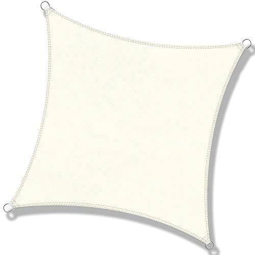 DEXIAO Tenda a Vela Triangolo Vela ombreggiante Impermeabile Tenda a Vela Parasole Protezione UV per Terrazza Campeggio Giardino Esterno(2 × 2 m, latte)